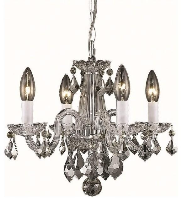 "Rococo Rectangular Chandelier: Elegant Lighting Rococo 15"" 4-Light Royal Crystal"