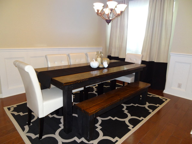 James 8 Farmhouse Table In Dark Walnut Stain And Black Paint Contemporary
