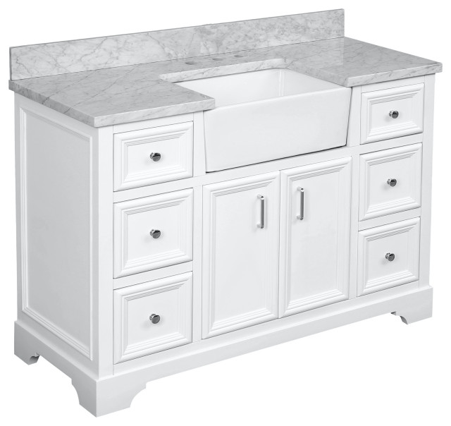 "Zelda 48"" Bathroom Vanity, White, Carrara Marble"