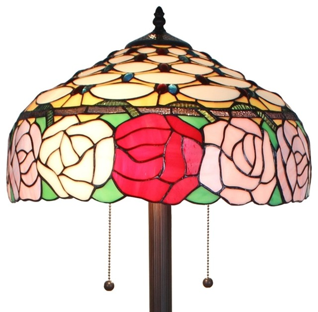 Amora Lighting Tiffany Style Roses 61-Inch Floor Lamp 62 In.