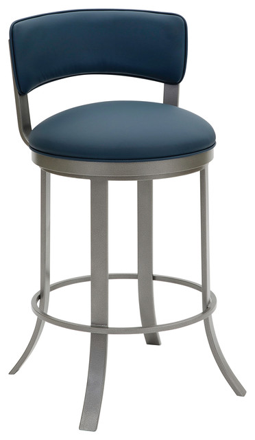 Sydney Counter Height Swivel Barstool, Faux Leather/Silver Palladium, 26""