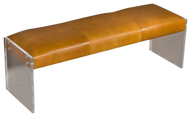 Interlude Home Leather Bench, Distressed Tan.