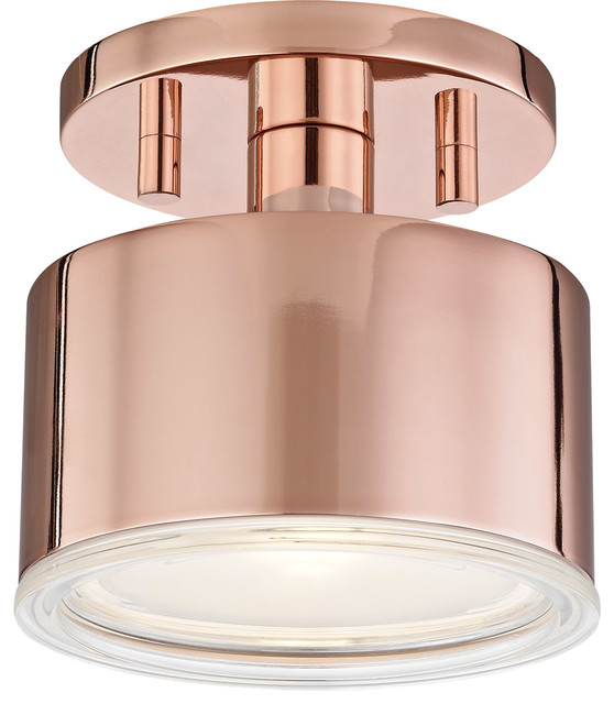 Nora 1-Light Flush Mounts, Polished Copper.