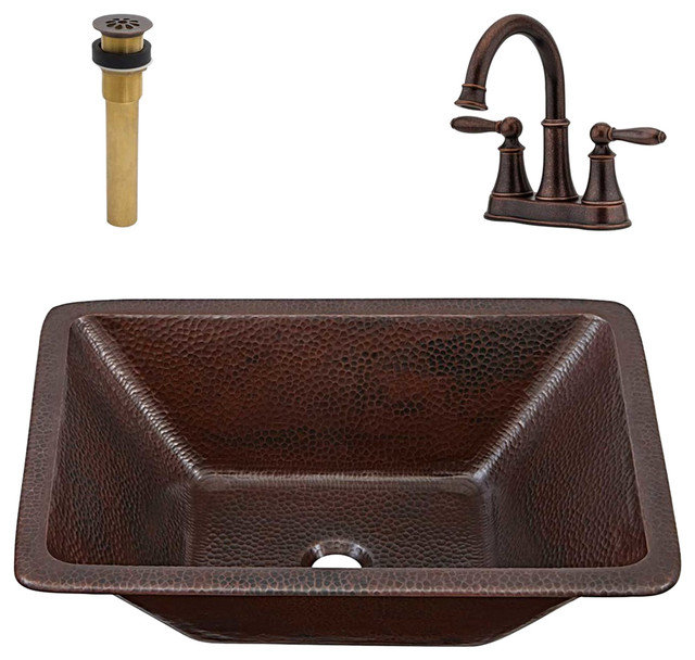 Hawking Undermount/Drop-In Copper Sink Kit With Courant Faucet & Drain