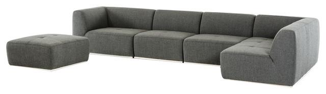 Divani Casa Hawthorn Modern Gray Fabric Sectional Sofa and Ottoman