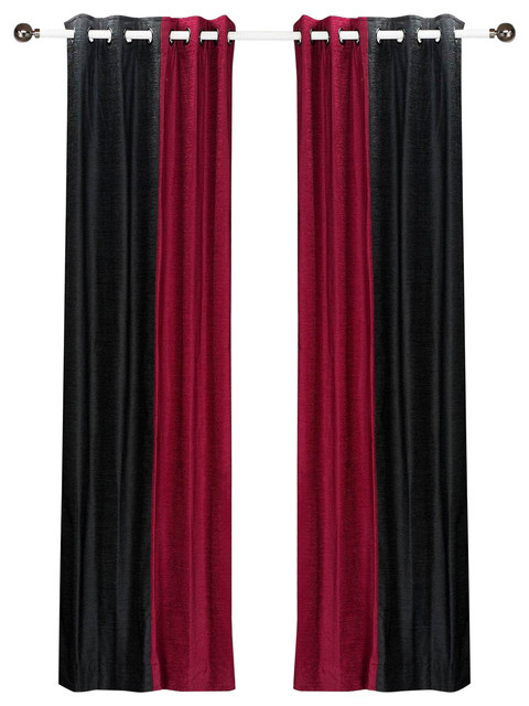 Burgundy And Black Curtains.Delancy Black And Burgundy Ring Top Velvet Curtain Panel 43w X 108l Piece