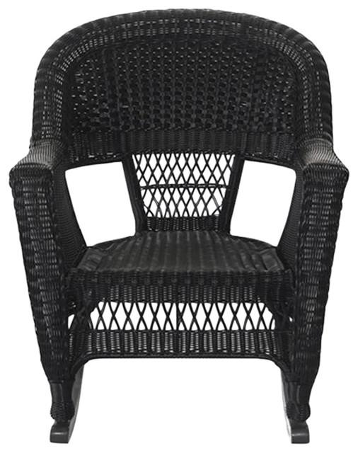 Jeco W00207R D 2 Black Rocker Wicker Chairs, Set Of 2