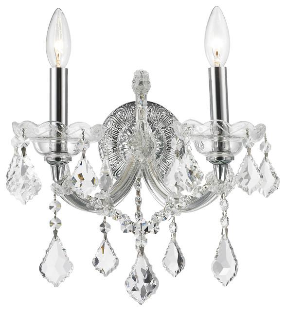 Maria Theresa 2 Light Crystal Candle Wall Sconce Medium Chrome Finish
