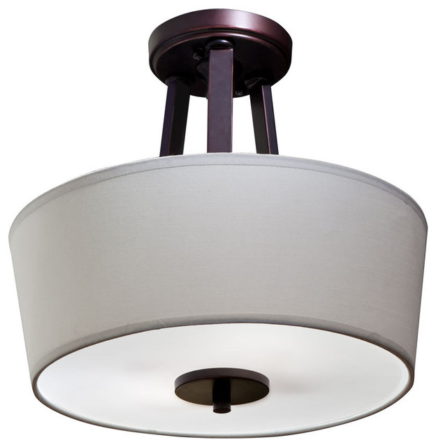 semi-flush mount ceiling light with shade and diffuser, oil rubbed