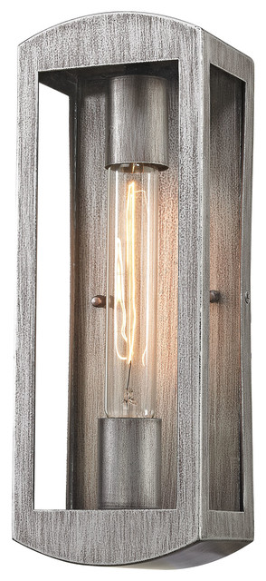 Elk lighting trenton 1 light outdoor wall sconce blackened bronze trenton 1 light outdoor wall sconce silvery ash industrial outdoor wall aloadofball Image collections