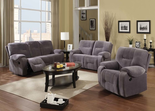 Acme Gray Ch&ion Reclining Sofa Loveseat Recliner Tuft Motion Living contemporary-sofas & Acme Gray Champion Reclining Sofa Loveseat Recliner Tuft Motion Living islam-shia.org