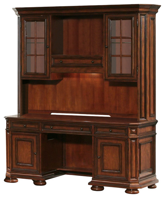 Riverside Furniture Cantata Computer Credenza With Hutch Traditional Desks And Hutches By