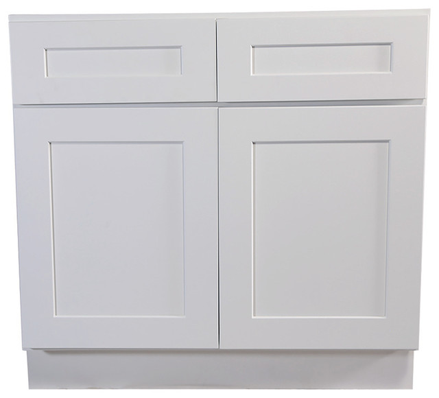 "Brookings 42"" Fully Assembled Kitchen Base Cabinet, White Shaker."
