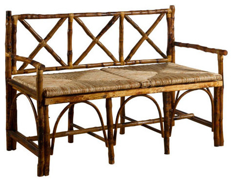 Kenian English Bench With Woven Rush Seat Accent And