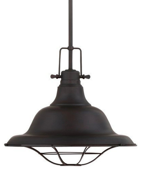1-Light Industrial Pendant Oil Rubbed Bronze Kitchen Pendant Light.