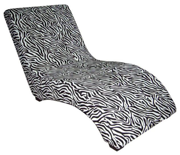 Modern Zebra Print Chaise.