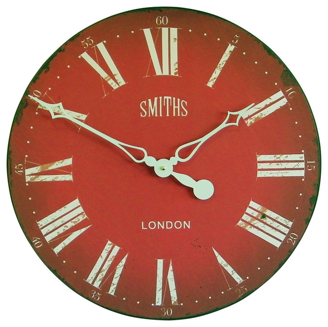 Lascelles London Smiths Antique Style Wall Clock Red