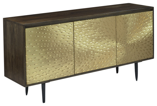 3-Door Sideboard, Dark Mango, Brass Tone by Coast to Coast Imports, LLC