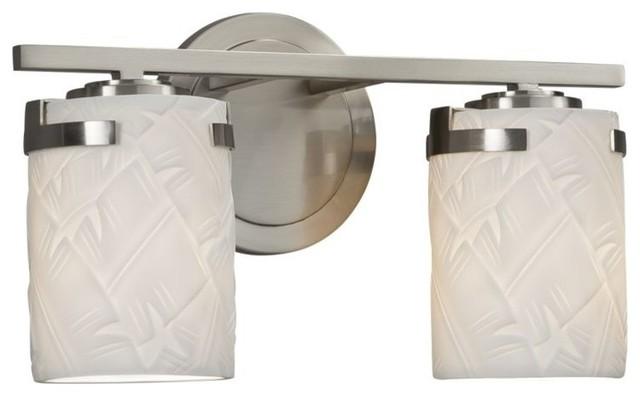 Brushed Nickel 2 Globe Vanity Bath Light Bar Interior: Justice Design Atlas 2-Light Bath Bar