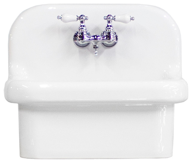 NEW Small Wall Mount High Back Utility Sink Deep Basin Porcelain, White/Chrome