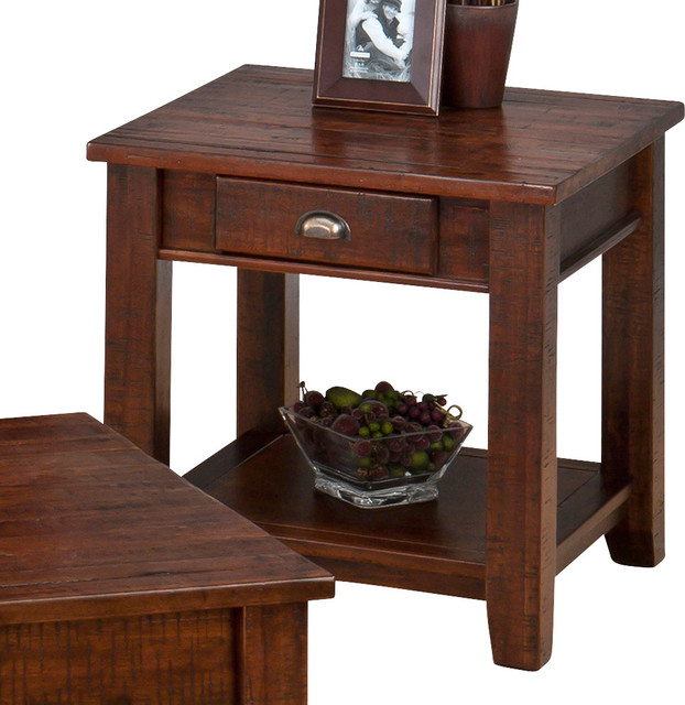 Jofran Urban Lodge Square End Table With Drawer And Shelf In Antique Brown  Traditional Side