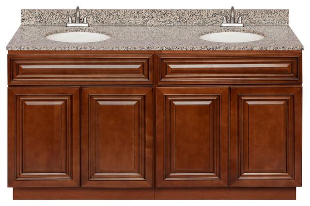Brown Double Bathroom Vanity 60, Burlywood Granite Top, Faucet Lb5b.