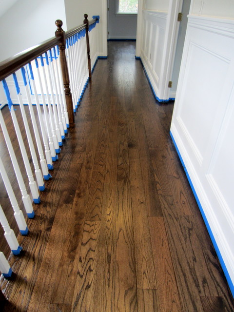 EAST HAMPTON RED OAK REFINISHED WITH JACOBEAN STAIN SEMI GLOSS OIL POLY Traditional