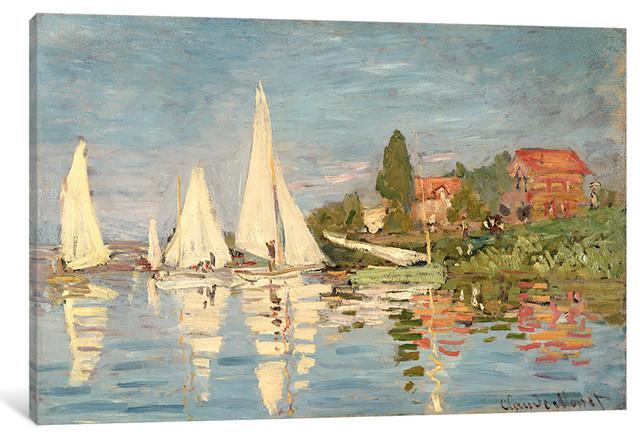 """regatta At Argenteuil, C.1872 "" By Claude Monet, 12x8x0.75"", 60x40x1.5""."