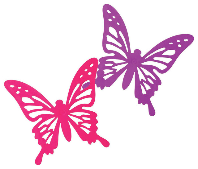 Silicone Pink And Purple Butterfly Trivets Contemporary