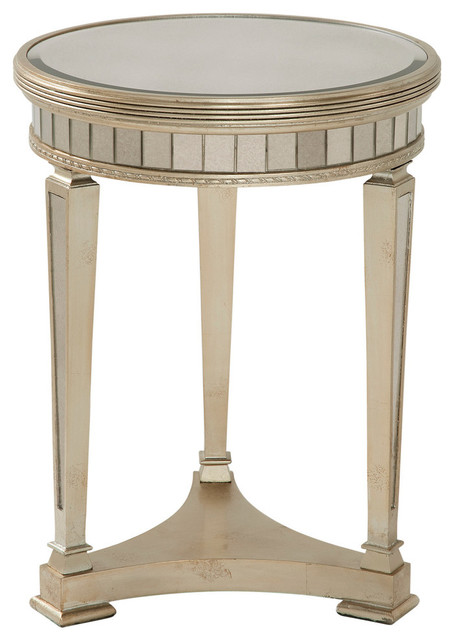 Borghese Round Mirrored End Table Traditional Side Tables And