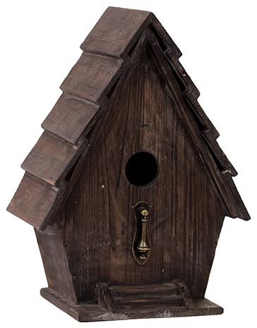 Modern Charming Wooden Bird House Metal Stand Home Decor