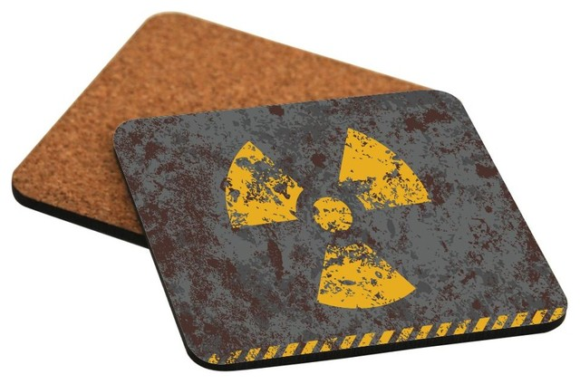 Shop houzz rikki knight llc yellow radioactive alert hard back coasters set of 2 coasters - Radioactive coasters ...