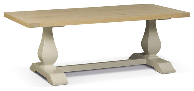 Sandford Trestle Coffee Table, Off White And Oak.