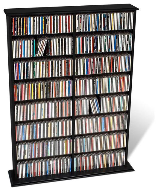Superbe Prepac Double Width CD DVD Wall Media Storage Rack In Black