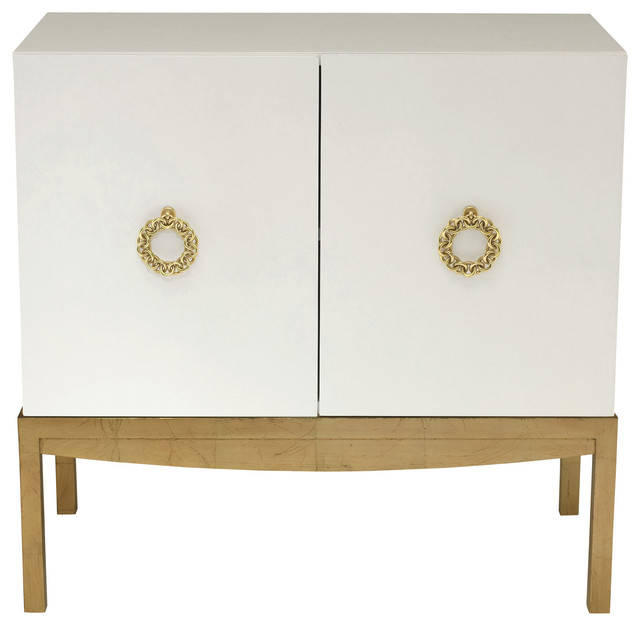 Crawford Pearl White Hollywood Gold Leaf Cabinet - Transitional - Storage Cabinets - by Kathy ...