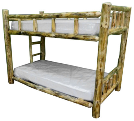 Northern Rustic Pine Log Bunk Bed Twin