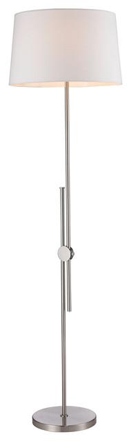 Alexa Adjustable Floor Lamp, White, Modern, Brushed Steel.