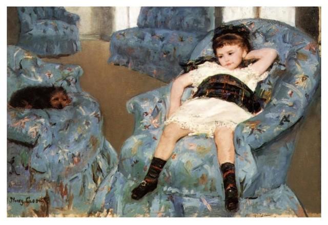 little girl in a blue armchair 1878\