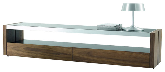Trieste Modern Tv Stand In Matte Walnut With Black Glass Top