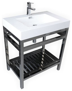 Sacco Stainless Steel Sink Console   Contemporary   Bathroom Vanities And Sink  Consoles   By Kubebath