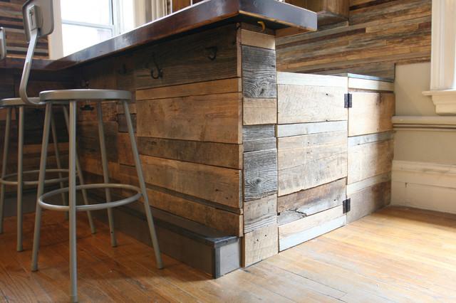 Reclaimed Wood Bar Rustic New York By Jen Chu Design