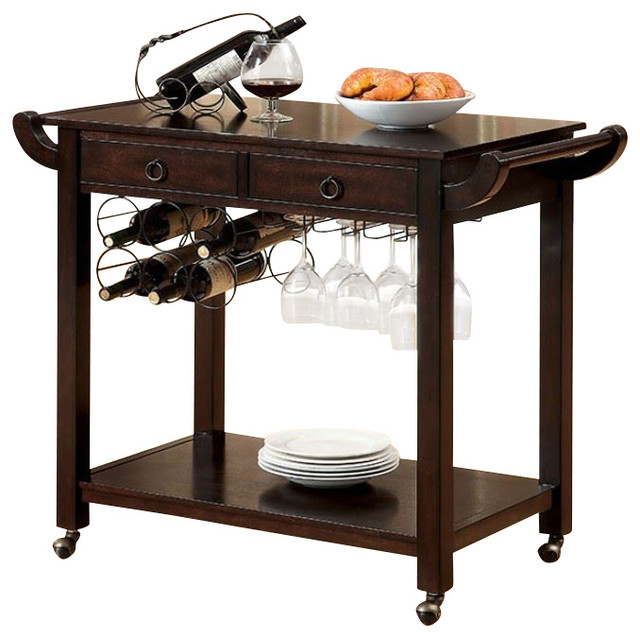 Walnut 2 Drawer And Open Shelf Kitchen Cart With Wine Glass Holders  Contemporary Bar