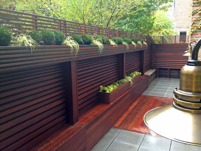 Chelsea nyc terrace wood fence deck patio privacy for Privacy planters for decks