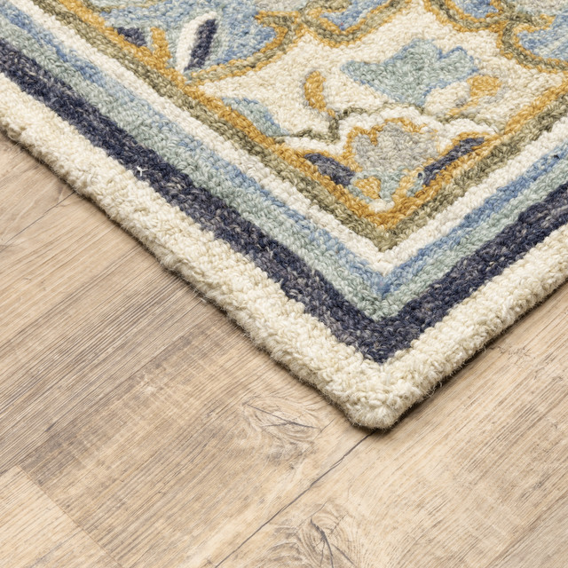 Asher Bohemian Medallion Blue And Ivory Area Rug Mediterranean Area Rugs By Newcastle Home Houzz