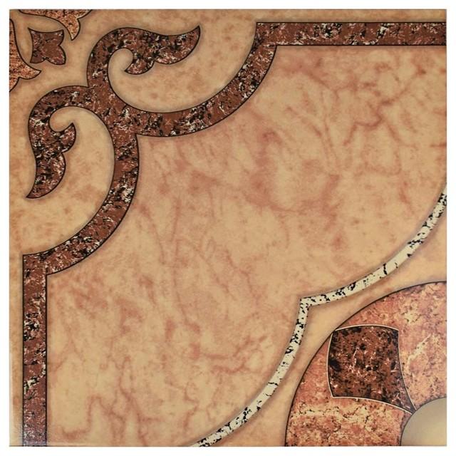 "17.63""x17.63"" Cairo Ceramic Floor And Wall Tiles, Beige, Cream, Set Of 10."