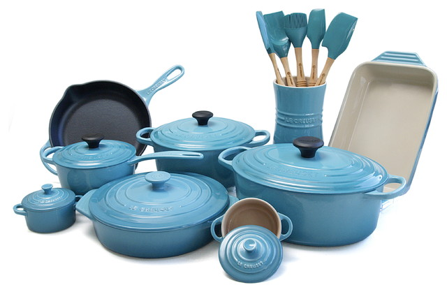 Le Creuset 20 Piece Cast Iron/Stoneware Cookware Set, Caribbean Traditional  Cookware