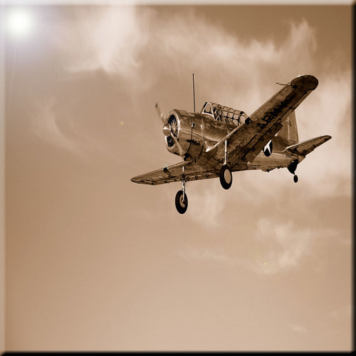 Rikki Knight Times Past Vintage Airplane in Sky Design Art Ceramic Tile 4 by 4-Inch