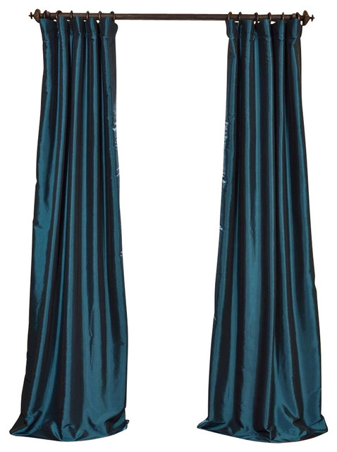 "Meditteranean Blackout Fauxsilk Taffeta Curtain Single Panel, 50""x108""."