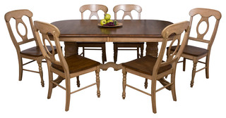 Sunset Trading 7 Piece Brook Double Pedestal Extension Dining Set