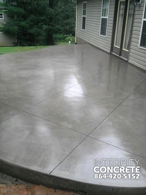 Gray Concrete Patio With Diamond Pattern Traditional Patio